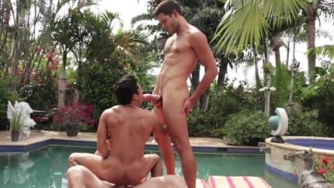 Trios de tbm gay à la piscine bareback